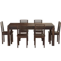 Classic Comfort Mango Wood Dining Table & Upholstered Chair Set