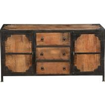 Windsor Solid Wood & Iron 3 Drawer & 2 Door Industrial Buffet Cabinet