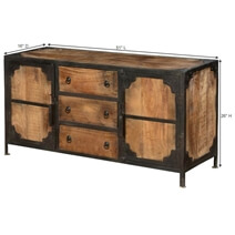 Windsor Solid Wood & Iron 3 Drawer & 2 Door Industrial Buffet Cabinet