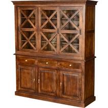 Pennsylvania Dutch Rustic Mango Wood Glass Door Dining Room Hutch