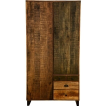 Leimert Industrial & Solid Mango Wood Wardrobe Armoire With Drawers