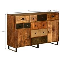Coalton Wooden Patches Mango Wood Industrial Buffet Cabinet