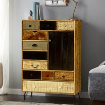 Lowell Wooden Patches Mango Wood 11 Drawer Vertical Chest