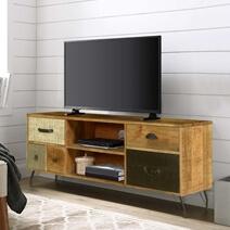 Wooden Patches Mango Wood & Iron 52.5 TV Console Media Island