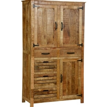 Avon Pioneer Rustic Solid Wood Farmhouse Armoire With Shelves & Drawers