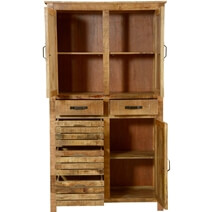 Avon Pioneer Rustic Solid Wood Armoire With Shelves And 5 Drawers