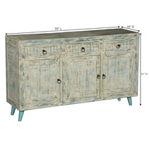 Cape White Washed Reclaimed Wood 3 Drawer Rustic Sideboard