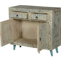 White Washed Reclaimed Wood Freestanding 2 Drawer Buffet Cabinet