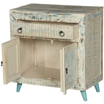 White Washed Reclaimed Wood Freestanding Rustic Buffet Cabinet