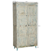 Vamo Rustic White Washed Solid Reclaimed Wood Armoire With Shelves