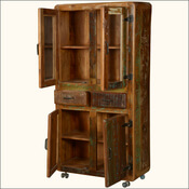 Danbury Rustic Reclaimed Wood Rolling Wheel 2 Drawer Display Cabinet