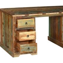 59 Reclaimed Wood Pedestal Desk Multi Color Workstation