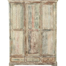 Woodsburgh White Washed Reclaimed Wood Large Wardrobe Armoire w Drawer