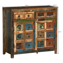 Pioneer Rustic Reclaimed Wood Freestanding 2 Drawer Sideboard Cabinet