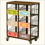 Priority Baskets Iron & Hardwood Rolling 6-Basket Cart