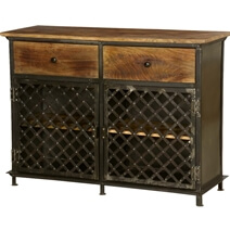 Treviso Mango Wood Top Iron 2 Drawer Industrial Buffet Cabinet