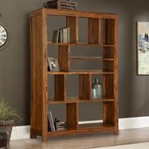 Demopolis 11 Open Shelf Rustic Solid Wood Geometric Bookcase