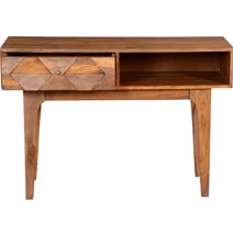 Hand Carved Diamonds Solid Wood Hall Writing Desk