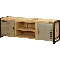 Industrial Natural Mango Wood & Iron TV Console Media Cabinet