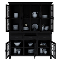 Harold Traditional Rustic Solid Wood Iron Grill Dining Room Hutch