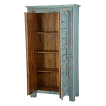 Rustic Blue Traditional 2 Door Solid Wood Tall Cabinet