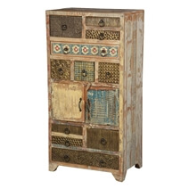 Country Patch Quilt Reclaimed Wood 11 Drawer Standard Vertical Chest