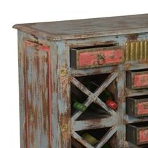 Dillonvale Golden Flowers Reclaimed Wood Wine Rack Buffet Cabinet