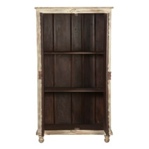 Altona Handcarved Rustic Solid Wood Distressed White Armoire w Shelves