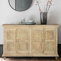 Wharton Handcrafted Rustic Solid Wood Large Buffet Cabinet