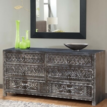 Midnight Shadows Hand Carved Mango Wood Bedroom Dresser With 6 Drawers