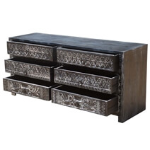 Midnight Shadows Mango Wood Hand Carved 6 Drawer Double Dresser