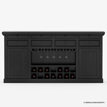 Nottingham Rustic Solid Wood Black Wine Bar Large Sideboard Cabinet