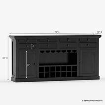 Nottingham Rustic Solid Wood Black Bar Large Sideboard Cabinet