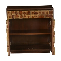 Blasdell Tree Rings Tiles Solid Wood 2 Drawer Storage Cabinet