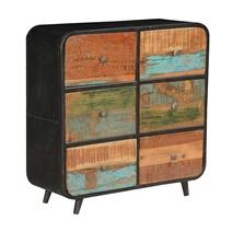 50's Retro Reclaimed Wood & Iron Standing 6 Drawer Double Dresser