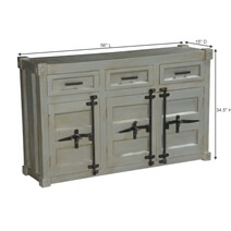 White Knight Mango Wood Freestanding Industrial Sideboard Cabinet