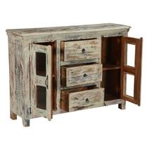 Winter Storm Mango Wood Glass Door 3 Drawer Rustic Sideboard Cabinet