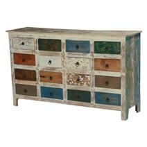 Rustic Earth Tones Mango Wood 16 Drawer Standard Horizontal Dresser