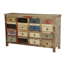 Primary Colors Solid Mango Wood Apothecary Cabinet With 16 Drawers