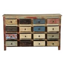 Rustic Primary Colors Mango Wood 16 Drawer Standard Horizontal Dresser