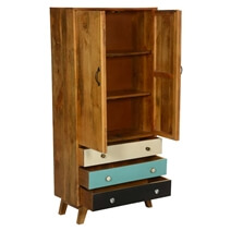 60's Mod Solid Wood Armoire Cabinet With Shelves And Drawers