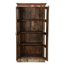 Burke Rustic Reclaimed Wood Glass Door Tall Display Cabinet