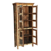 Buckner Reclaimed Wood And Glass Door Display Cabinet With Shelves