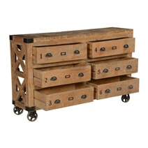 Solid Wood Factory Cart Style Rustic 6 Drawer Double Dresser