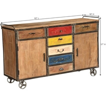 Albany Primary Colors Rustic Mango Wood Rolling Buffet Cabinet