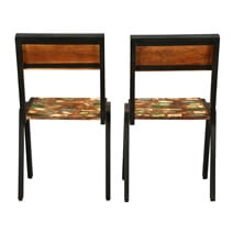 Painted Bricks Reclaimed Wood & Iron Kitchen Dining Chair (Set of 2)