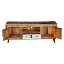 Hazlet By-The-Numbers Rustic Reclaimed Wood Open Shelve TV Stand