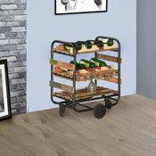 Cecilton Pioneer Reclaimed Wood Industrial Rolling Wine Rack Cart