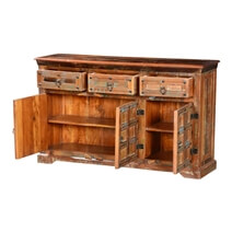 Walstonburg Rustic Plaid Reclaimed Wood 3 Drawer Sideboard Cabinet
