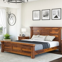 Modern Farmhouse Rustic Solid Wood Platform Bed